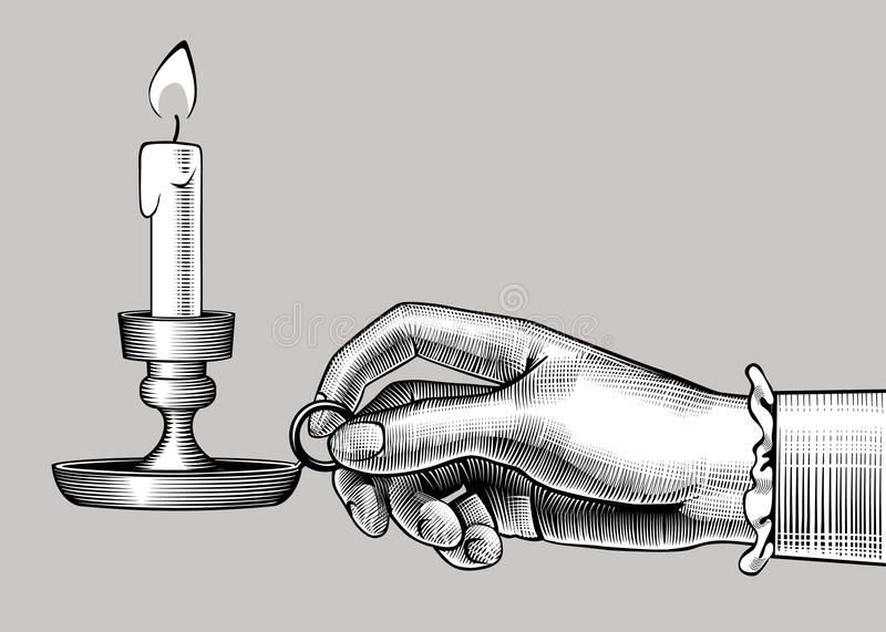 Woman`s hand holding a candlestick with burning candle royalty free illustration