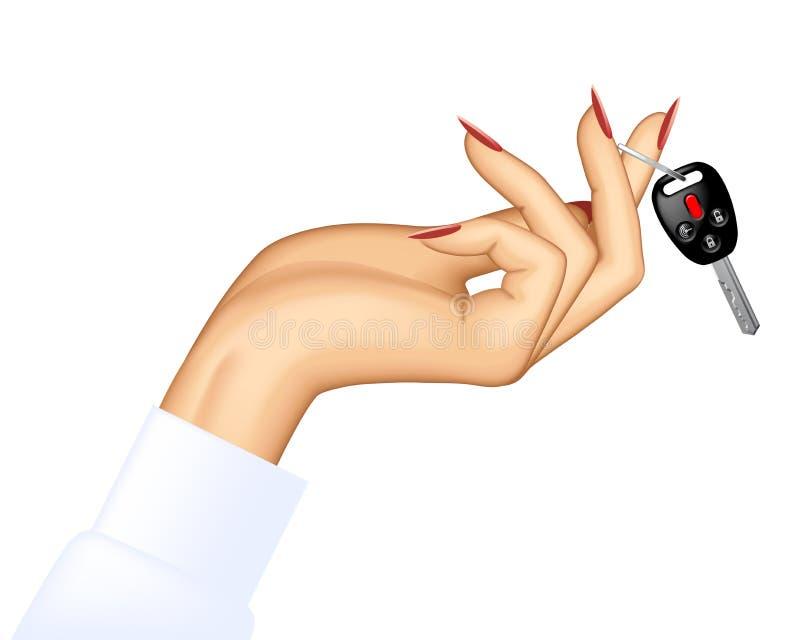 Woman`s hand holding car key vector illustration