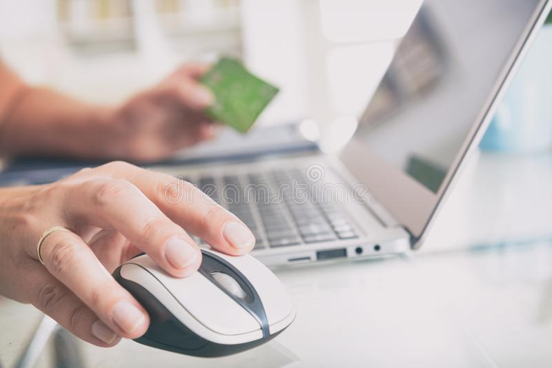 Paying online with credit card royalty free stock image