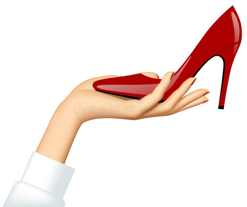 Woman`s hand holding a high-heeled red shoe isolated on white ba stock illustration