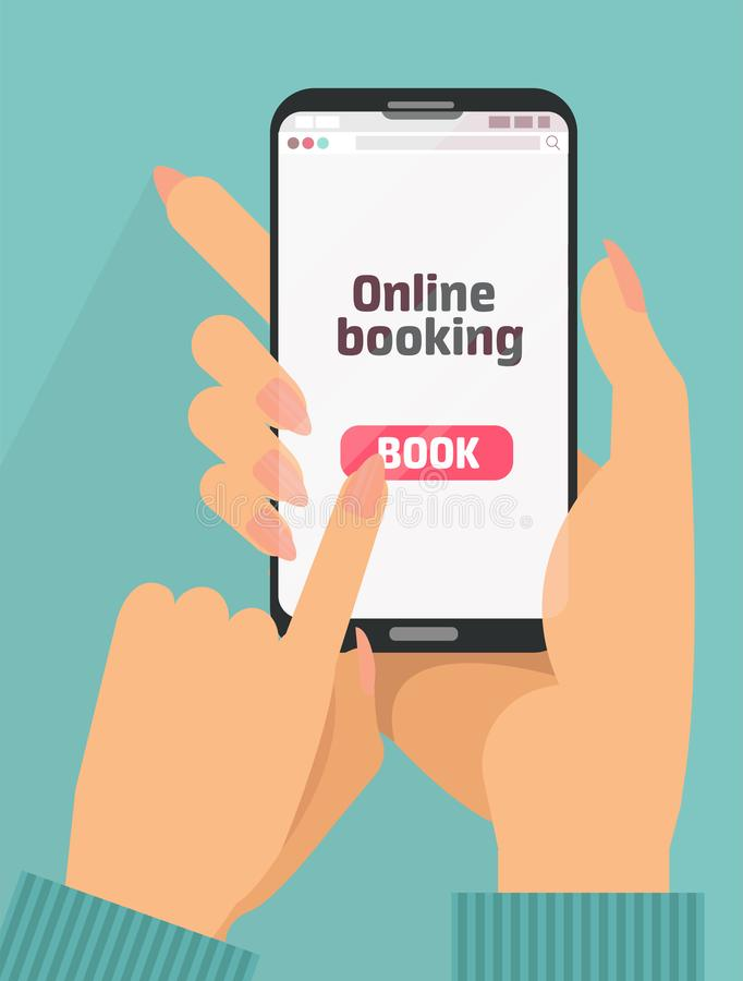 Woman`s Hand holding smartphone with book button on screen.Concept of online booking mobile application for renting accommodation vector illustration
