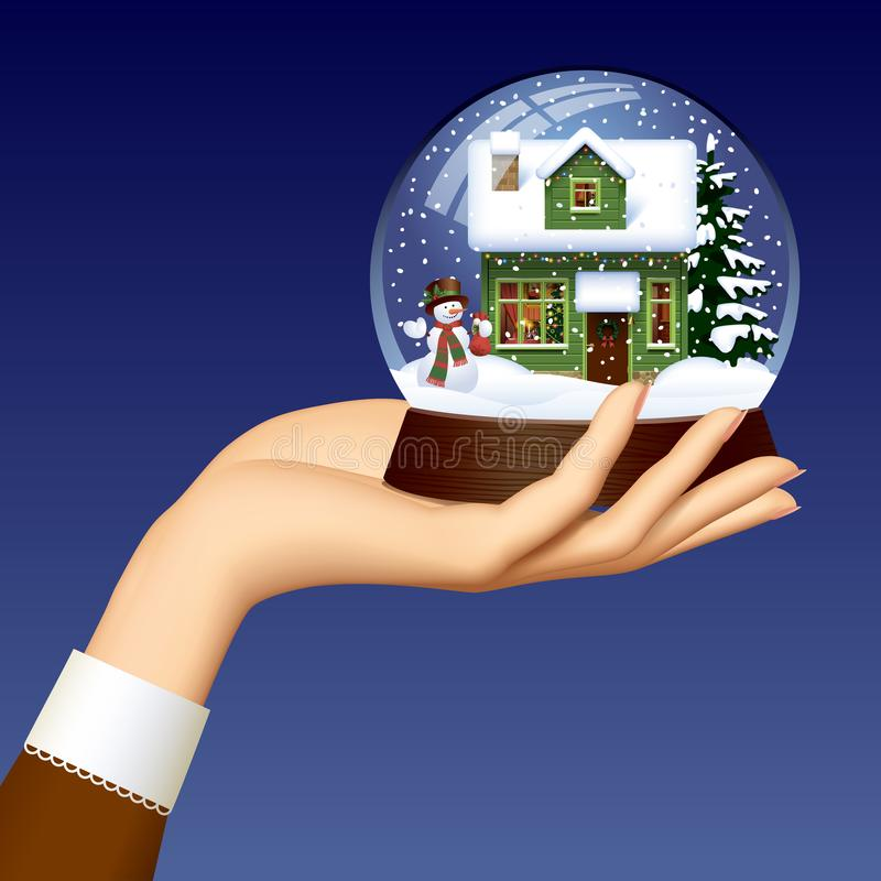 Woman`s hand holding a Xmas snow globe with snowman, green woode vector illustration