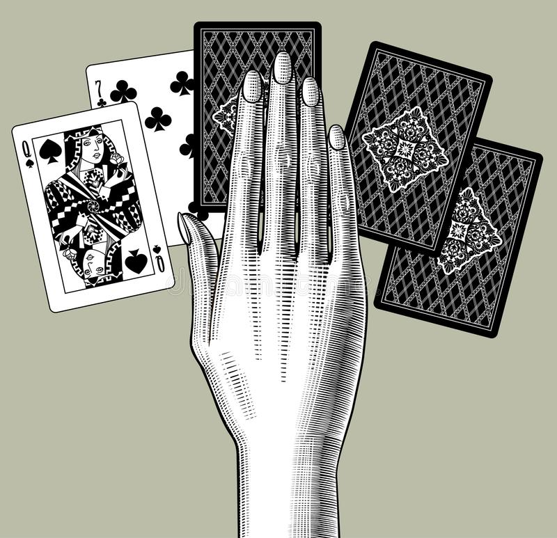 Woman`s hand laying out playing cards fan. Vintage engraving sty. Lized drawing. Vector illustration stock illustration