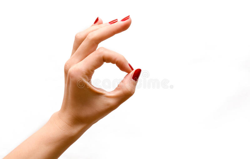 Download Woman's hand OK stock photo. Image of perfection, white - 13389356