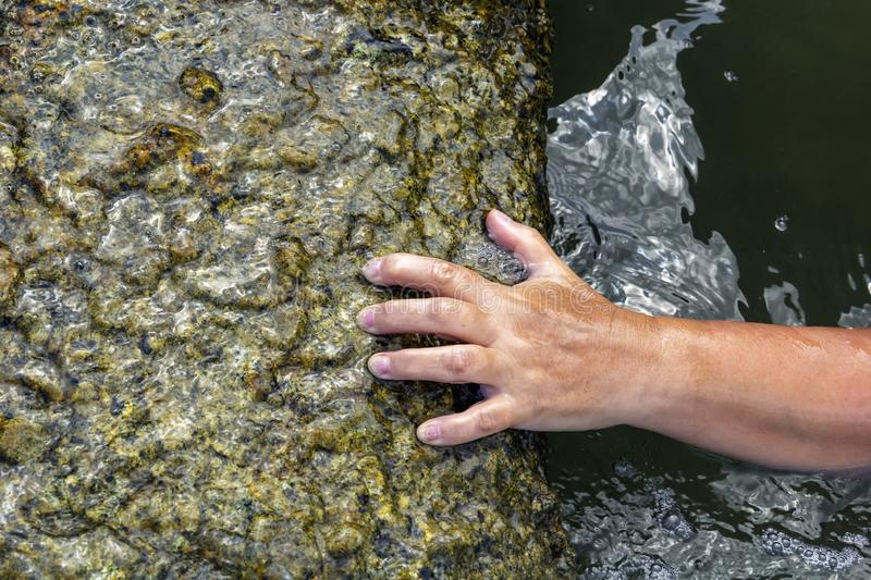 Woman`s hand out of the water trying to grab the coastal stone and escape from the sea royalty free stock photo