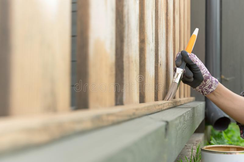 Woman`s hand with a paintbrush painting wooden terrace railings. Outdoor shot. In natural light stock photos