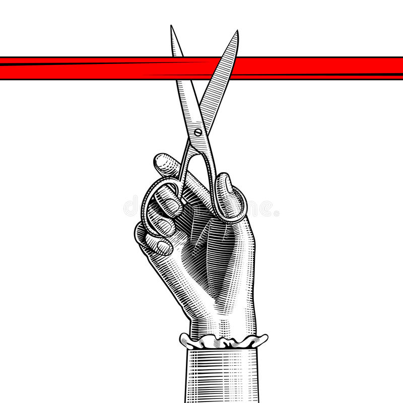 Woman`s hand with scissors cutting red ribbon vector illustration