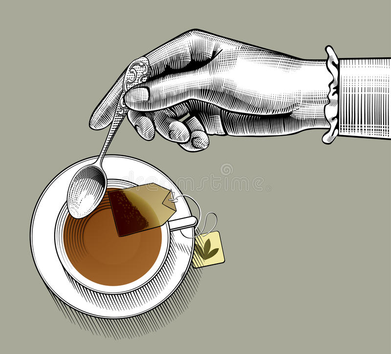 Woman`s hand with a tea cup and spoon. Vintage stylized drawing. There is in addition a vector format EPS 8 royalty free illustration