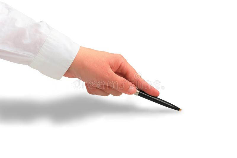 Woman`s hand in white shirt sleeve pointing at something with a luxury pen. body part close up with a shadow isolated on white royalty free stock photography