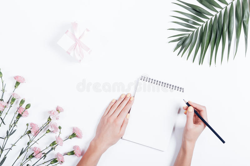 Woman's hand writing in a notebook at the desk, top view stock photo