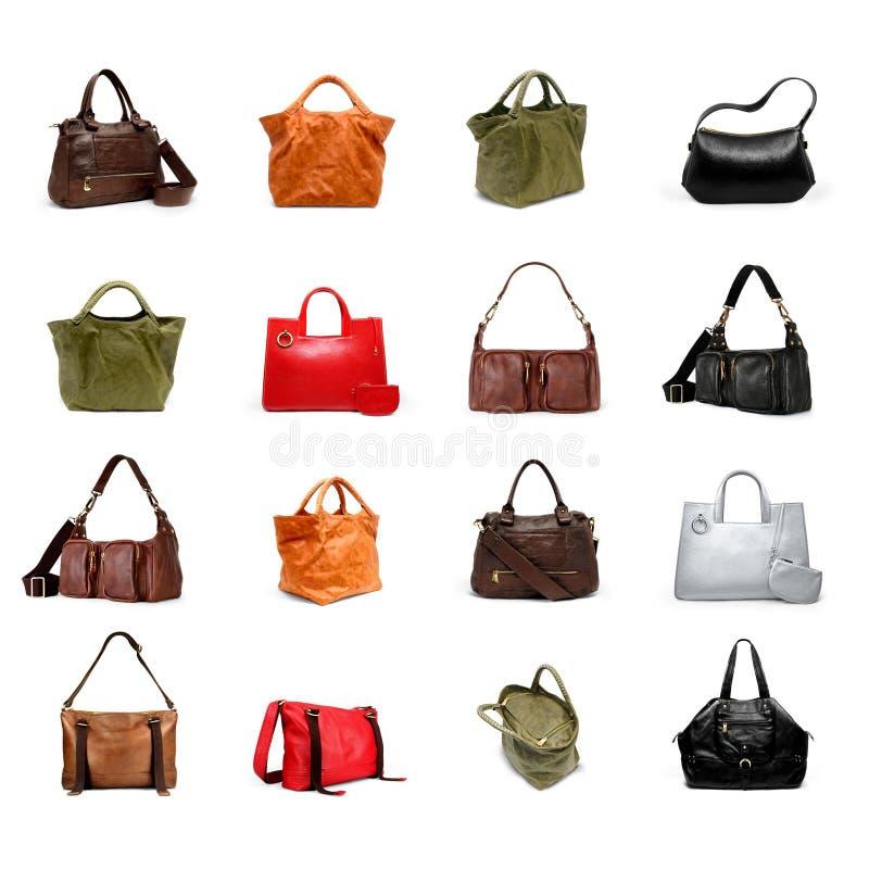A woman's handbag on a white variety royalty free stock photos
