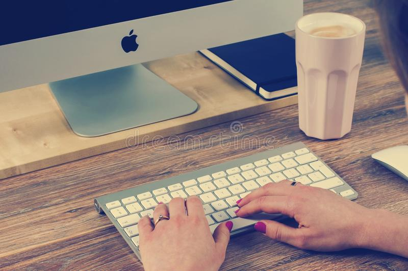 Woman's Hands On Apple Keyboard Free Public Domain Cc0 Image