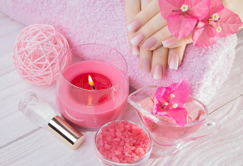 Woman`s hands with French manicure stock image