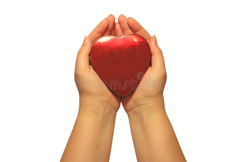 Woman S Hands Holding A Box Shaped As Red Heart Royalty Free Stock Photo