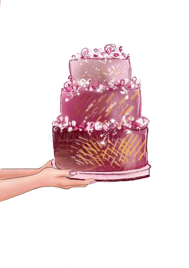 Woman`s hands holding multi layered wedding cake royalty free illustration