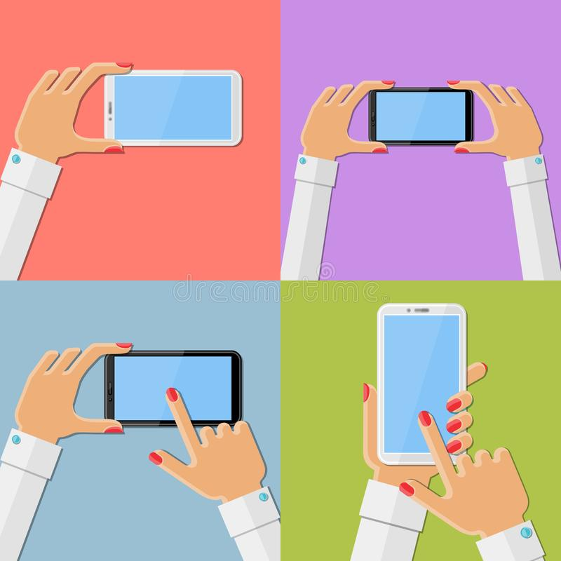 Woman`s hands holding smartphone. Set of flat vector illustrations vector illustration