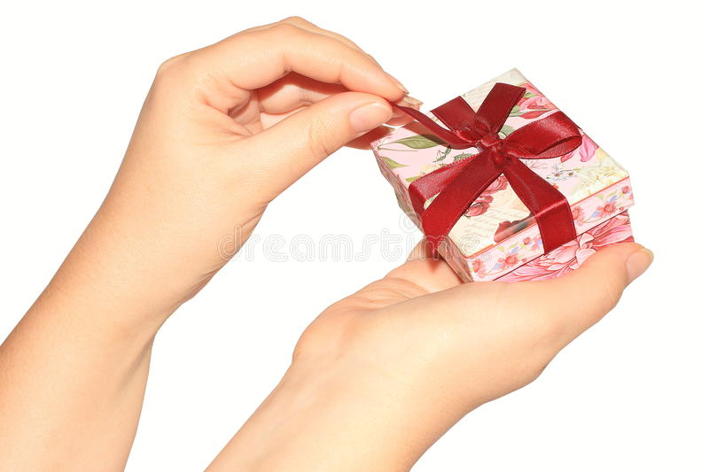 Download Woman's Hands Opening Present Box Stock Image - Image: 22182109