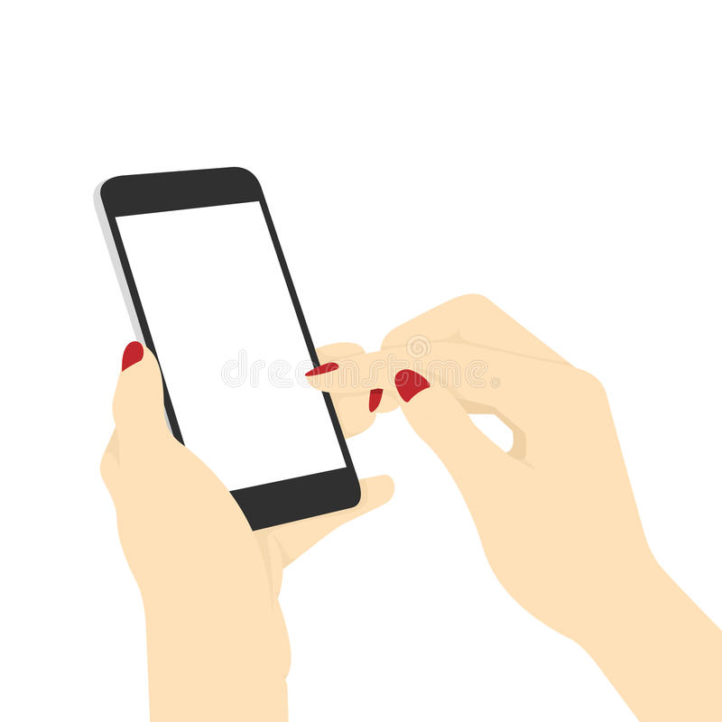 Woman`s Hands Surfing Internet With Her Smart Phone stock illustration