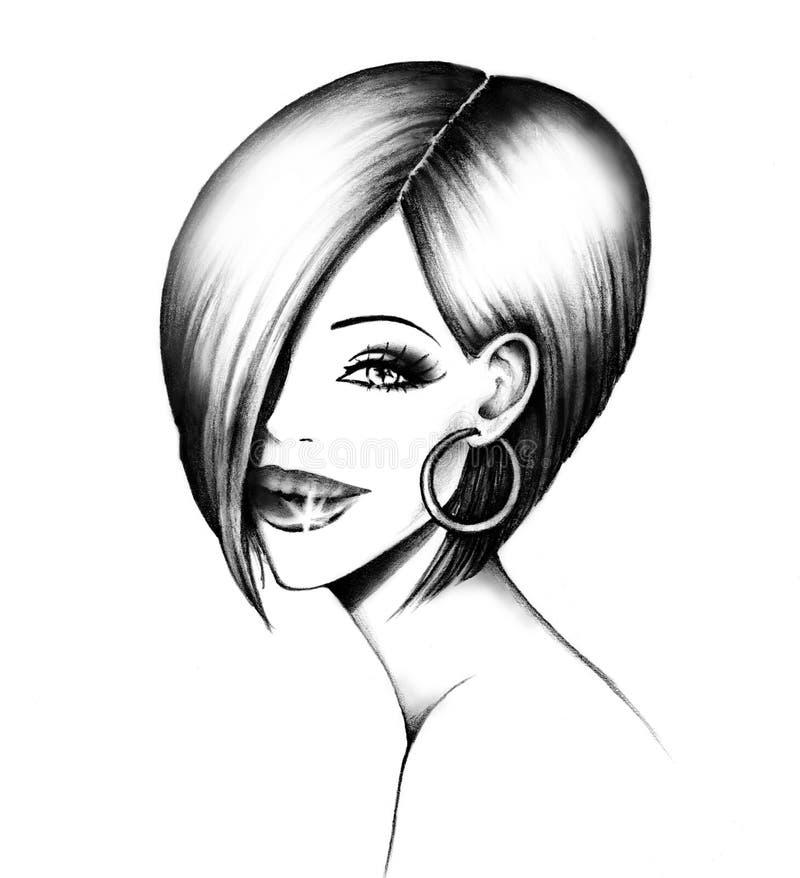 Woman's head stock illustration
