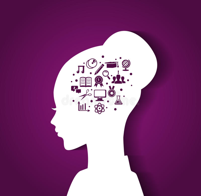 Woman S Head With Education Icons Stock Image