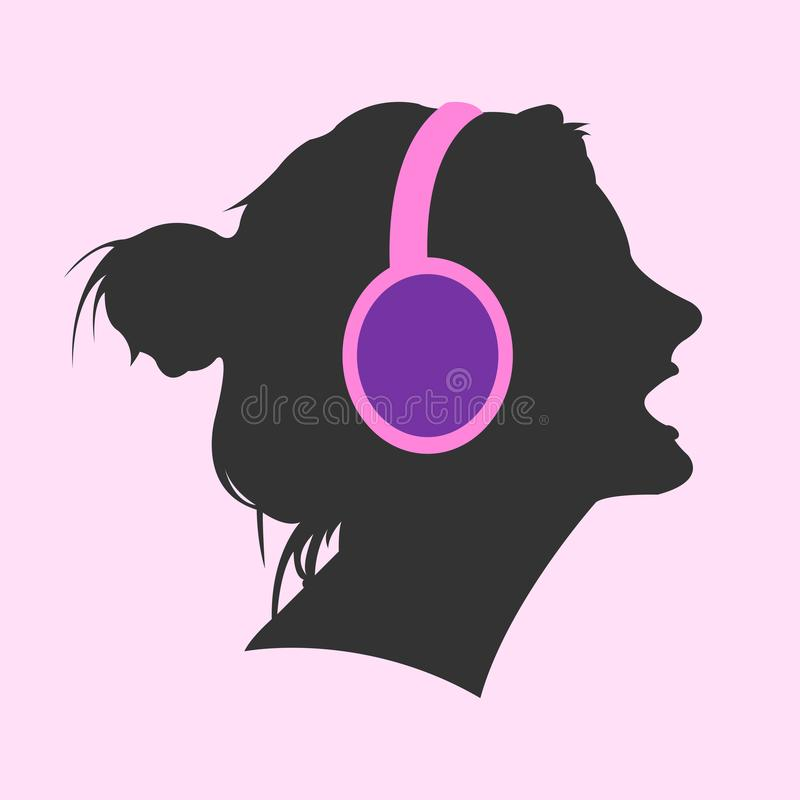 Woman's head with headphones. An illustrated silhouette of a woman's head with headphones on a pink background stock illustration