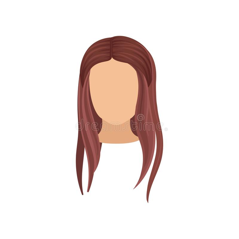 Woman s head with long straight hair. Stylish female haircut. Flat vector element for fashion magazine or poster of vector illustration