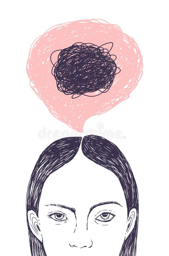 Woman s head, thought bubble and scribbles inside it hand drawn with contour lines on white background. Concept of inner. Confusion, difficulty, mess, chaos stock illustration