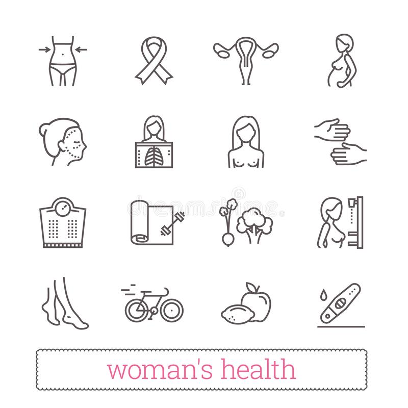 Woman`s health thin line icons. Medicine, women beauty, active lifestyle, healthy diet, breast cancer awareness symbols. vector illustration