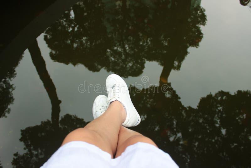 Woman's Legs Dangling Over Lake Free Public Domain Cc0 Image