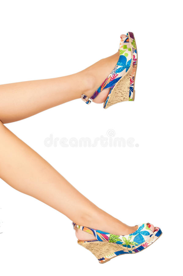 Woman's legs with summer shoes royalty free stock photo