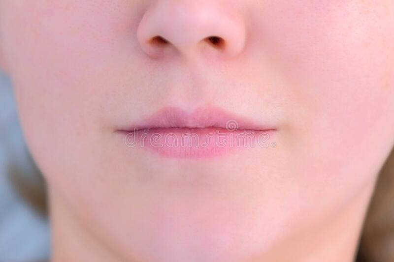Woman`s lips before permanent makeup microblading procedure, closeup view. stock images