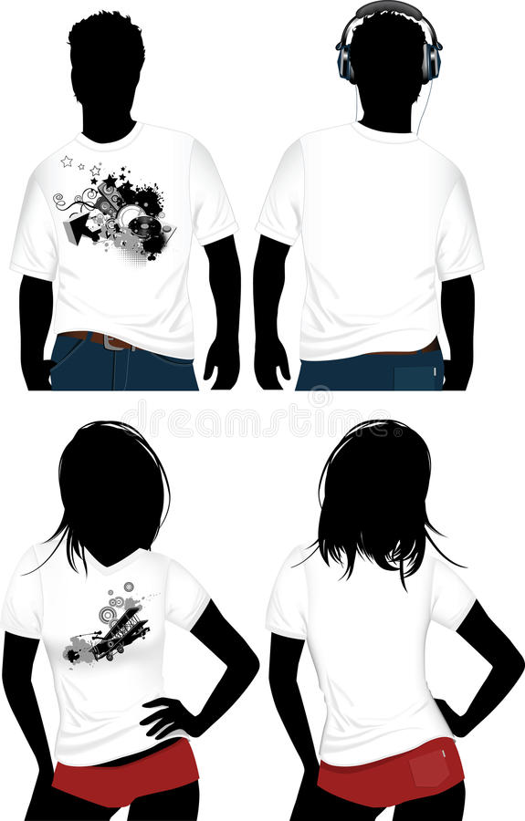 Download Woman's and man's t-shirt. stock vector. Image of youth - 10551031