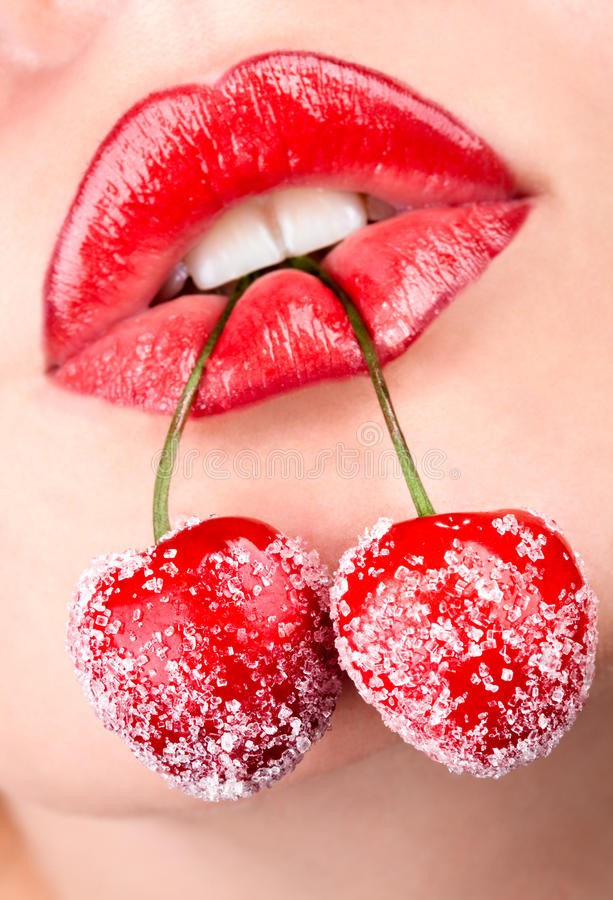 Download Woman's Mouth With Red Cherries Royalty Free Stock Photography - Image: 16377427