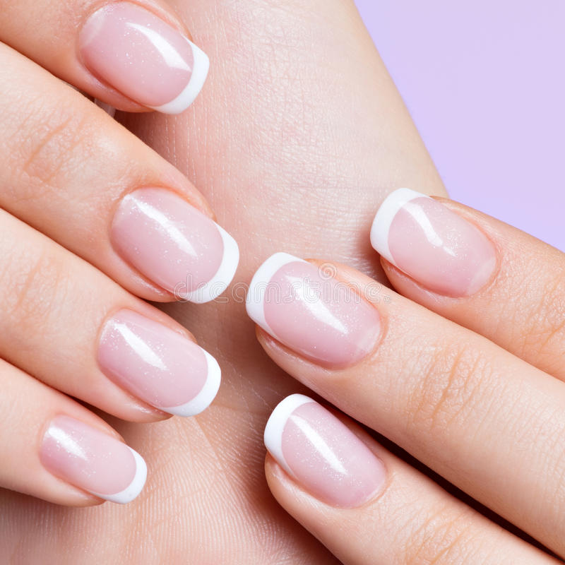 Woman\'s Nails With Beautiful French White Manicure Stock Photo ...