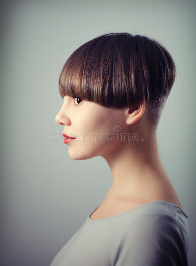 Woman`s portrait. Young beautiful woman portrait with depth of field effect stock photos