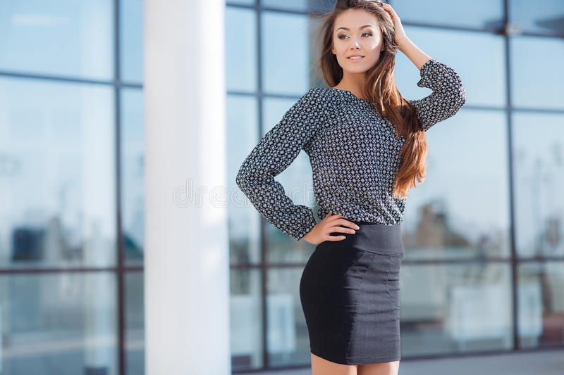 The woman's portrait near office. royalty free stock images
