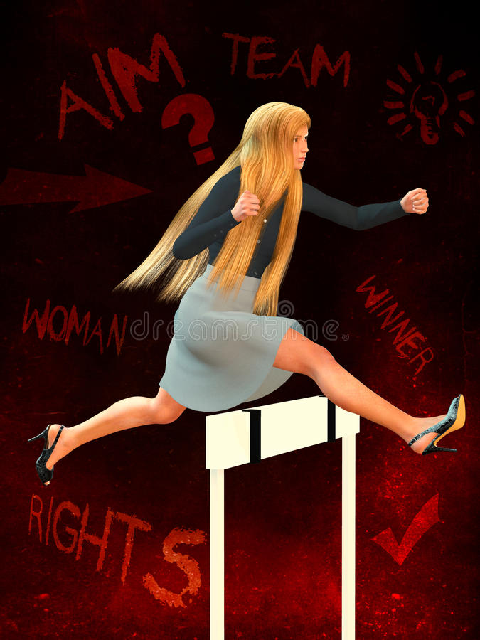 Woman's rights in business. 3d illustration of the business woman stock illustration