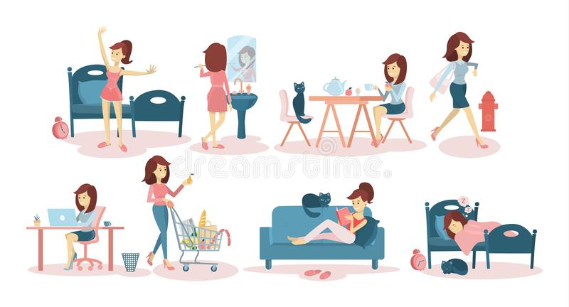 Woman`s daily routine. Woman`s daily routine at home and at work royalty free illustration