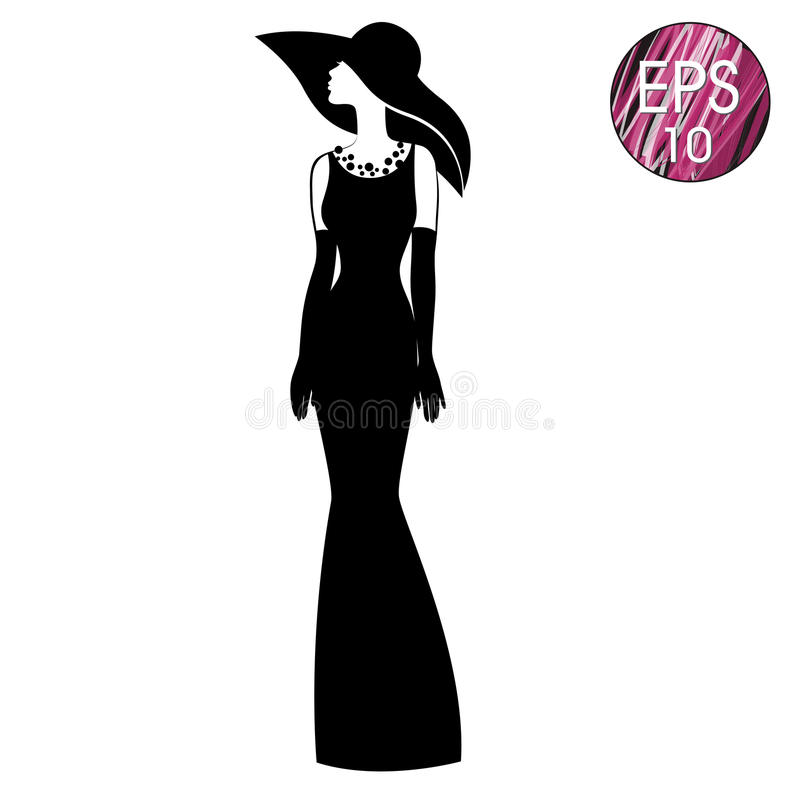 Woman`s silhouette in black hat and long dress vector illustration