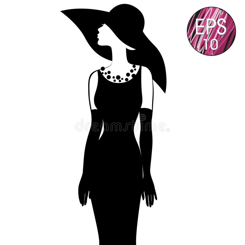 Woman`s silhouette in black hat vector illustration