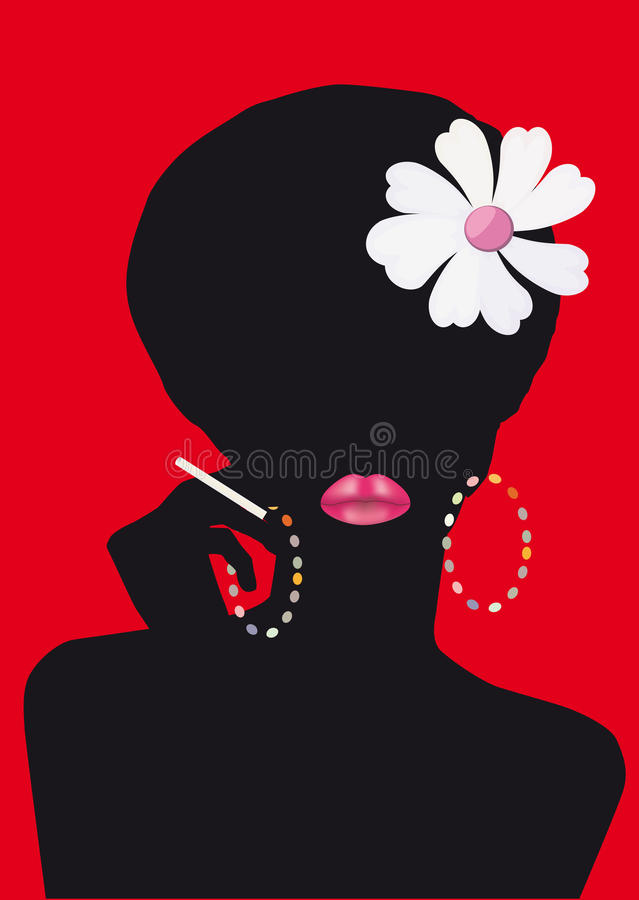 Woman's silhouette with cigarette royalty free stock image