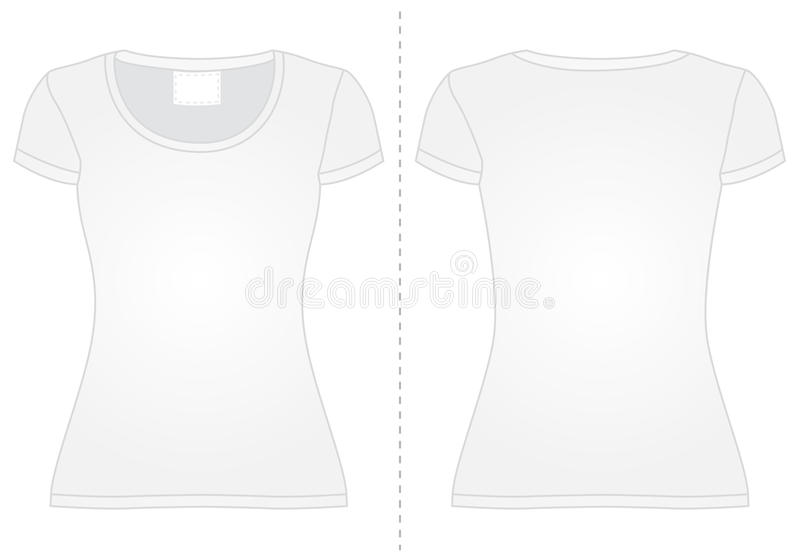 Download Woman's T-shirt. Front View And Back View. Stock Vector - Image: 39665553