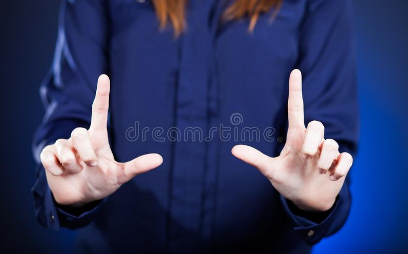 Woman's two hands pointing something royalty free stock images