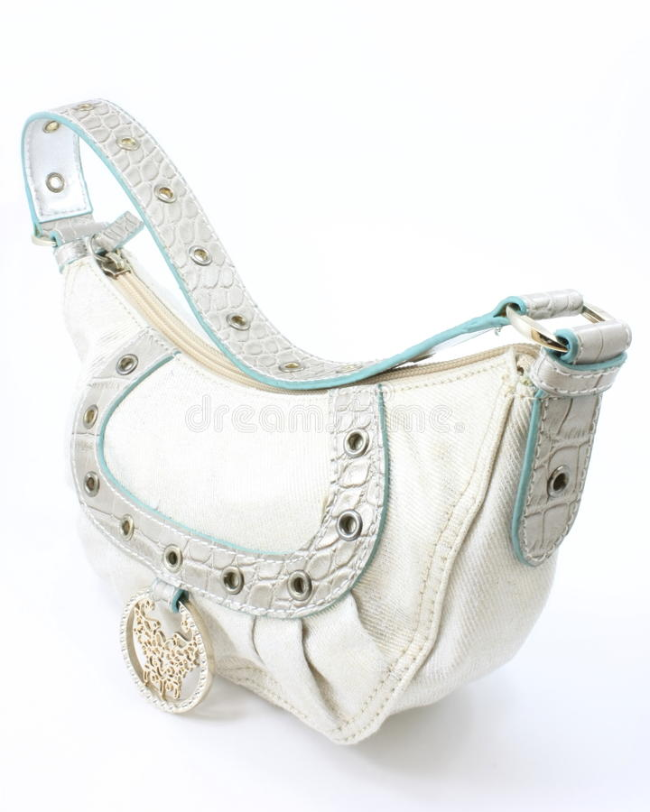 Woman's white fashion purse stock photography