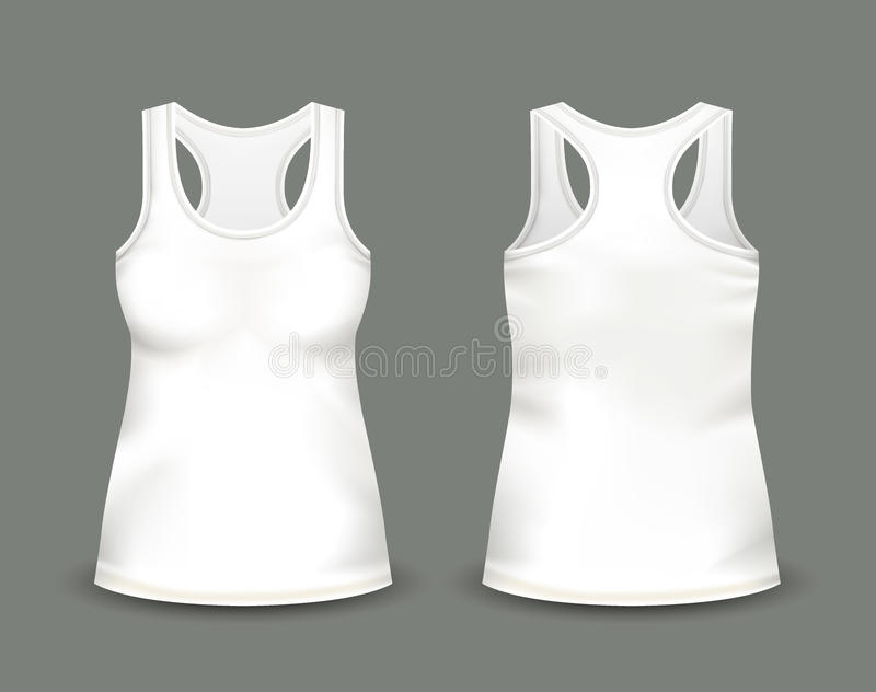 Woman`s white sleeveless tank top in front and back views. Vector illustration with realistic male shirt template. Fully editable handmade mesh. 3d singlet royalty free illustration