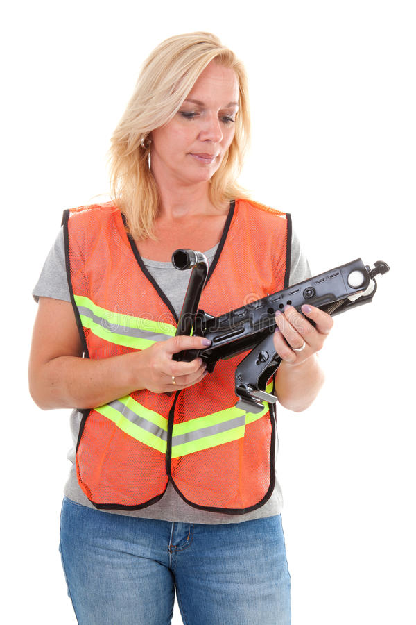 Download Woman in safety vest stock photo. Image of help, looking - 15118936