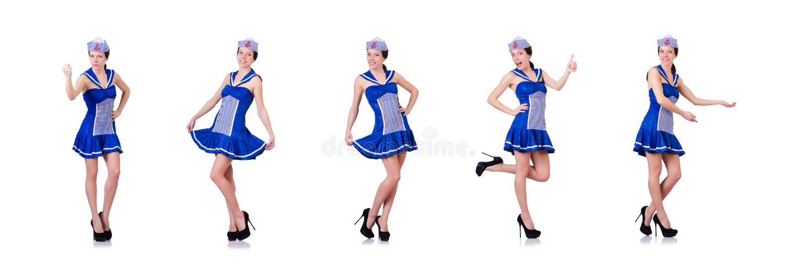 The woman sailor in marine concept. Woman sailor in marine concept stock photo