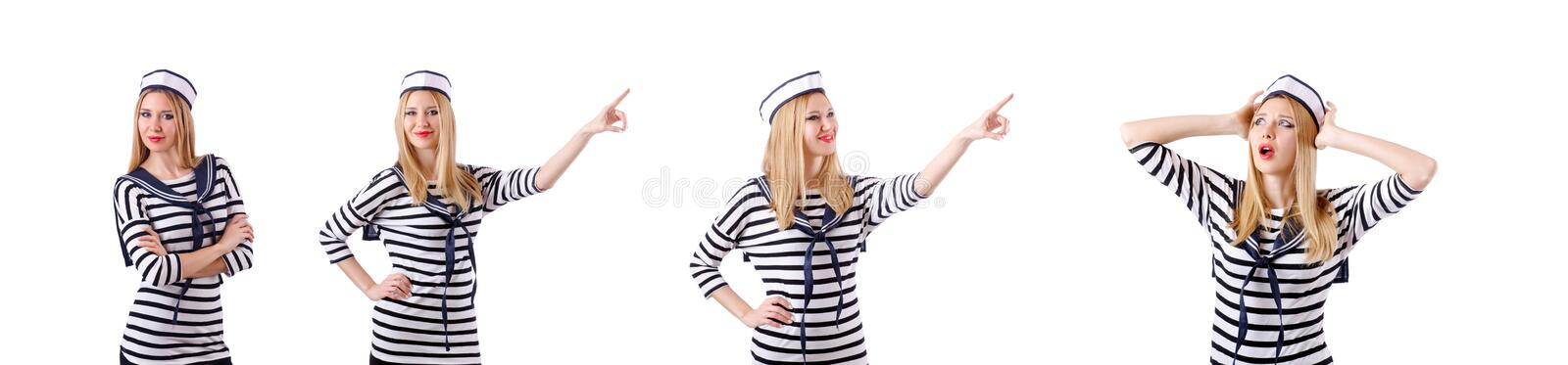 The woman sailor in marine concept. Woman sailor in marine concept stock images