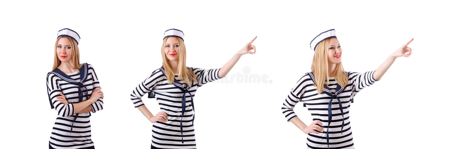 The woman sailor in marine concept. Woman sailor in marine concept royalty free stock photos