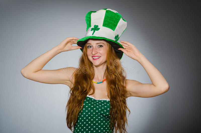 Woman in saint patrick. Concept stock images
